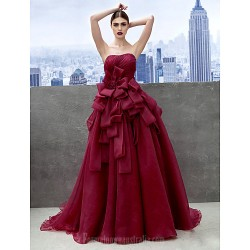 Australia Formal Dress Evening Gowns Burgundy A-line Sweetheart Chapel Train Organza