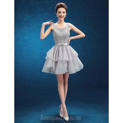 Australia Cocktail Party Dress Silver A-line Scoop Short Knee-length Organza