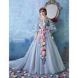Australia Formal Dress Evening Gowns Sky Blue Petite Ball Gown V Neck Cathedral Train Tulle Charmeuse