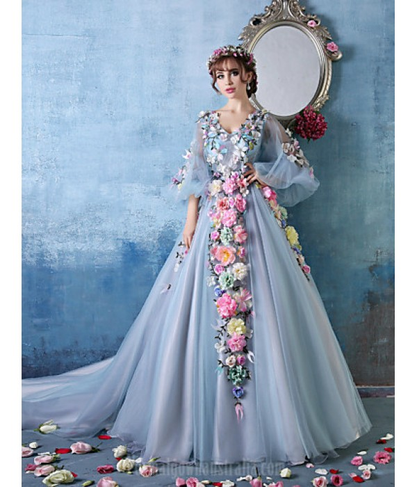 Australia Formal Dress Evening Gowns Sky Blue Petite Ball Gown V-neck Cathedral Train Tulle Charmeuse Formal Dress Australia