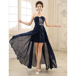 Australia Formal Dress Evening Gowns Ink Blue A-line Sweetheart Asymmetrical Chiffon