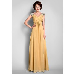 A-line Plus Sizes Dresses Petite Mother of the Bride Dress Gold Long Floor-length Sleeveless Chiffon