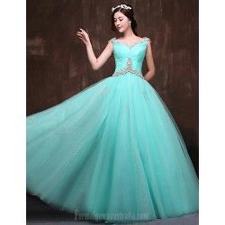 Australia Formal Dress Evening Gowns Jade Petite Ball Gown Scoop Long Floor Length Satin Tulle Polyester