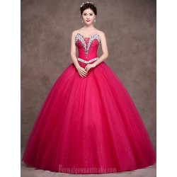 Australia Formal Dress Evening Gowns Fuchsia Petite Ball Gown Strapless Long Floor-length Satin Tulle Stretch Satin