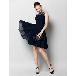 Australia Cocktail Party Dress Dark Navy A-line Bateau Short Knee-length Chiffon