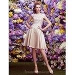 Australia Cocktail Party Dress Champagne A-line Bateau Short Knee-length Lace Satin Formal Dress Australia