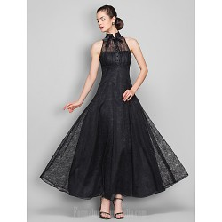 Australia Formal Evening Dress Military Ball Dress Black Plus Sizes Dresses Petite A-line High Neck Ankle-length Lace