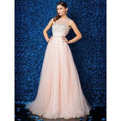 Dress Pearl Pink Plus Sizes Dresses Petite A Line Jewel Long Floor Length Tulle Dress