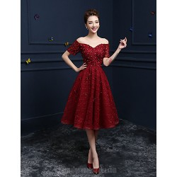 Australia Formal Dress Evening Gowns Burgundy A-line Off-the-shoulder Tea-length Lace