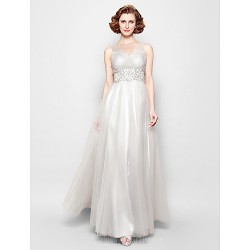 A Line Plus Sizes Dresses Petite Mother Of The Bride Dress Silver Long Floor Length Sleeveless Tulle