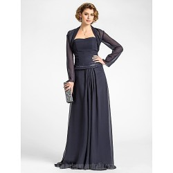 A-line Plus Sizes Dresses Petite Mother of the Bride Dress Dark Navy Long Floor-length Long Sleeve Chiffon