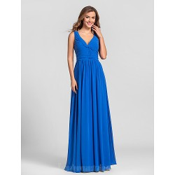 Long Floor Length Georgette Bridesmaid Dress Royal Blue Plus Sizes Dresses Petite A Line V Neck