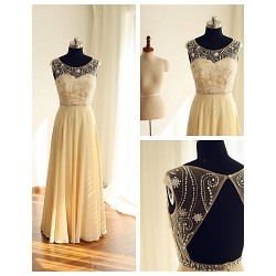 Australia Formal Dress Evening Gowns Champagne A Line Scoop Long Floor Length Chiffon