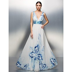 Australia Formal Dress Evening Gowns Prom Gowns Military Ball Dress Print Plus Sizes Dresses Petite A Line Princess V Neck Long Floor Length Chiffon