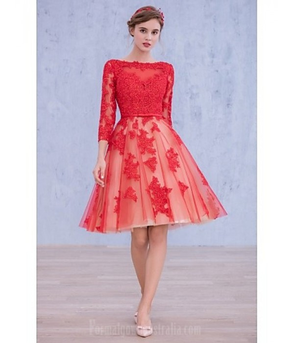 Australia Formal Dresses Cocktail Dress Party Dress Ruby Ball Gown Bateau Short Knee-length Lace Formal Dress Australia