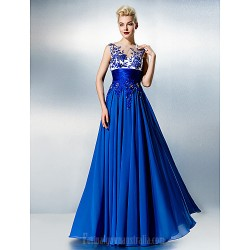Dress Ocean Blue Plus Sizes Dresses Petite A-line Jewel Long Floor-length Chiffon Lace