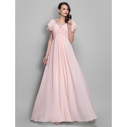 Australia Formal Dress Evening Gowns Prom Gowns Military Ball Dress Pearl Pink Plus Sizes Dresses Petite A-line Princess V-neck Long Floor-length Chiffon