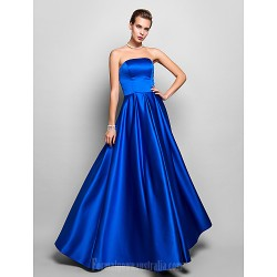 Australia Formal Evening Dress Prom Gowns Military Ball Dress Royal Blue Plus Sizes Dresses Petite A-line Strapless Long Floor-length Satin