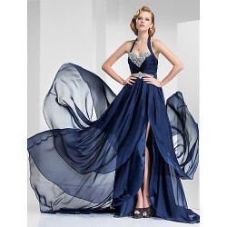Australia Formal Evening Dress Military Ball Dress Dark Navy Plus Sizes Dresses Petite A-line Princess Halter Sweetheart Court Train Satin Chiffon