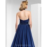 Australia Formal Dress Evening Gowns Military Ball Dress Dark Navy Plus Sizes Dresses Petite A-line Princess Halter Sweetheart Court Train Satin Chiffon Formal Dress Australia
