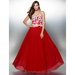 Australia Formal Evening Dress Burgundy A-line Sweetheart Long Floor-length Chiffon
