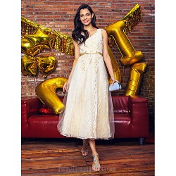Australia Cocktail Party Dress Champagne A-line V-neck Tea-length Lace Tulle