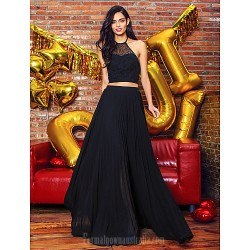 Australia Formal Dress Evening Gowns Black A Line Halter Long Floor Length Chiffon Lace