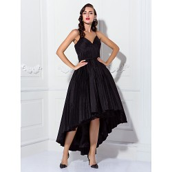 Australia Cocktail Party Dresses Prom Dress Black Plus Sizes Dresses Petite Ball Gown Spaghetti Straps Asymmetrical Taffeta