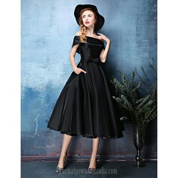 Australia Formal Dresses Cocktail Dress Party Dress Jade Black A-line Off-the-shoulder Tea-length Polyester Satin Chiffon