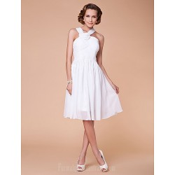 A-line Plus Sizes Dresses Petite Mother of the Bride Dress White Short Knee-length Sleeveless Chiffon