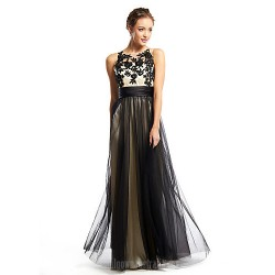 Australia Formal Dress Evening Gowns Black A Line Scoop Long Floor Length Tulle Dress