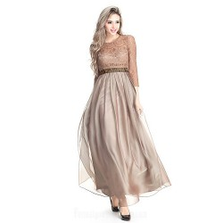 Australia Formal Dress Evening Gowns Brown Plus Sizes Dresses Petite A Line Jewel Long Floor Length Chiffon Lace
