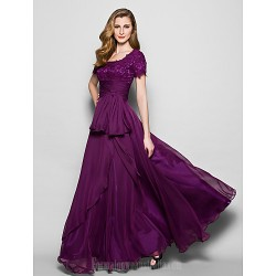 A-line Plus Sizes Dresses Petite Mother of the Bride Dress Grape Long Floor-length Short Sleeve Chiffon Lace