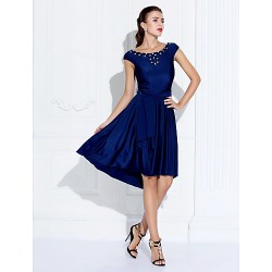 Australia Cocktail Party Dress Dark Navy Plus Sizes Dresses Petite A-line Jewel Asymmetrical Jersey