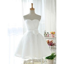 Short Knee-length Tulle Stretch Satin Bridesmaid Dress White Ball Gown Sweetheart
