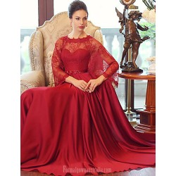 Australia Formal Dress Evening Gowns Burgundy Ball Gown Scoop Long Floor-length Satin Chiffon