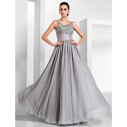 Australia Formal Evening Dress Military Ball Dress Silver Plus Sizes Dresses Petite A-line Princess V-neck Long Floor-length Chiffon Tulle