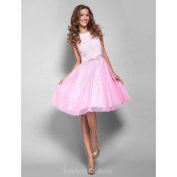 Holiday Australia Formal Dresses Cocktail Dress Party Dress Prom Dress Candy Pink Plus Sizes Dresses Petite A-line Bateau Short Knee-length Lace Tulle