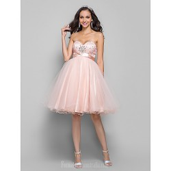 Australia Cocktail Party Dresses Prom Gowns  Dress Pearl Pink Plus Sizes Dresses Petite A-line Sweetheart Short Knee-length Tulle