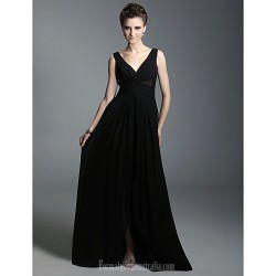 Australia Formal Evening Dress Military Ball Dress Black Plus Sizes Dresses Petite A-line Princess V-neck Straps Long Floor-length Chiffon