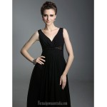Australia Formal Dress Evening Gowns Military Ball Dress Black Plus Sizes Dresses Petite A-line Princess V-neck Straps Long Floor-length Chiffon Formal Dress Australia