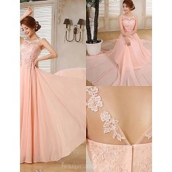 Australia Formal Dress Evening Gowns Pearl Pink Plus Sizes Dresses A Line Scoop Long Floor Length Chiffon