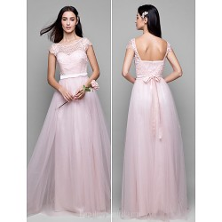 Long Floor-length Lace Dress Tulle Bridesmaid Dress Pearl Pink A-line Scoop