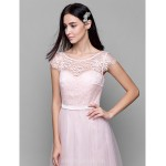 Long Floor-length Lace Dress Tulle Bridesmaid Dress Pearl Pink A-line Scoop Formal Dress Australia