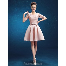 Australia Formal Dresses Cocktail Dress Party Dress Blushing Pink A-line Jewel Short Knee-length Satin