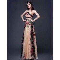 Australia Formal Evening Dress Print Plus Sizes Dresses Petite A-line Strapless Long Floor-length Chiffon