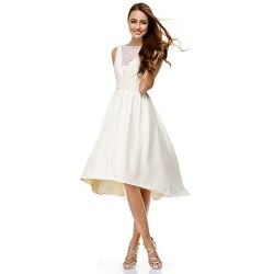 Australia Formal Dresses Cocktail Dress Party Dress Ivory A-line Bateau Short Knee-length Chiffon