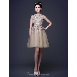 Australia Cocktail Party Dress Champagne Plus Sizes Dresses Petite A-line Princess Scoop Short Knee-length Lace Tulle