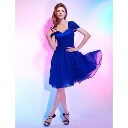 Australia Cocktail Party Dress Royal Blue Plus Sizes Dresses Petite A-line Princess Off-the-shoulder Sweetheart Short Knee-length Chiffon Stretch Satin