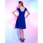 Australia Cocktail Party Dress Royal Blue Plus Sizes Dresses Petite A-line Princess Off-the-shoulder Sweetheart Short Knee-length Chiffon Stretch Satin Formal Dress Australia